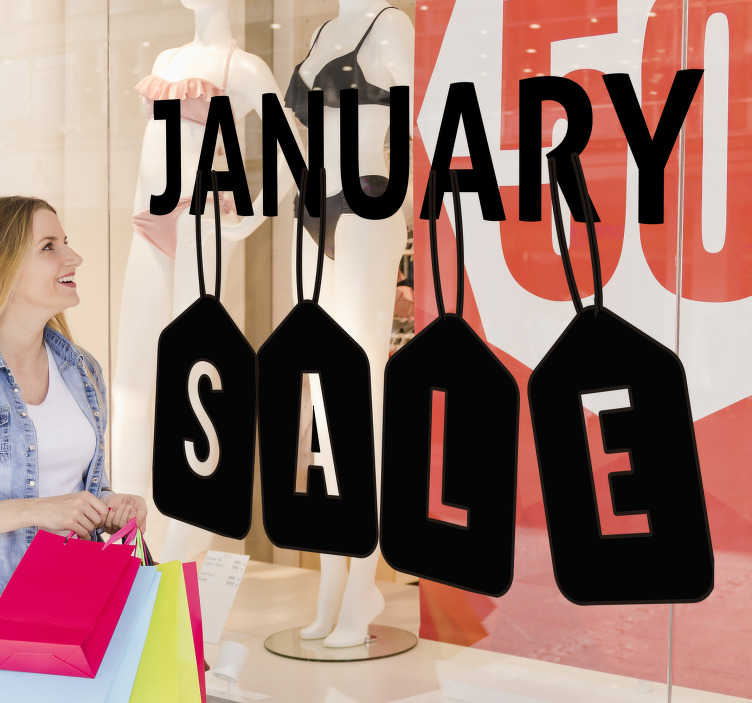 TenStickers. January sale price tags window decal. A shop window decal for promotional sales that is created in very nice looking design that you will love to apply on the surface of your shop.