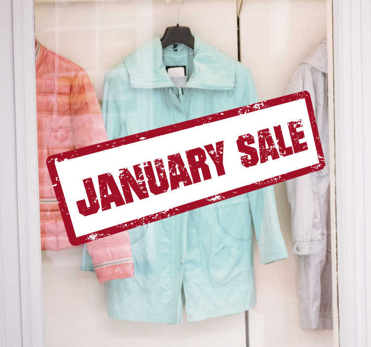 TenStickers. January sale stamp window decal. Shop window decal for business sales created with  nice looking text in beautiful colours that you will admire in your shop. Easy to apply design.