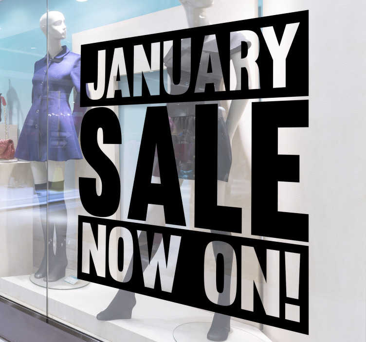 TenStickers. January sale  window decal. Shop window decal for business sales that is created with text on a transparent looking style that you will love to apply on your shop window.