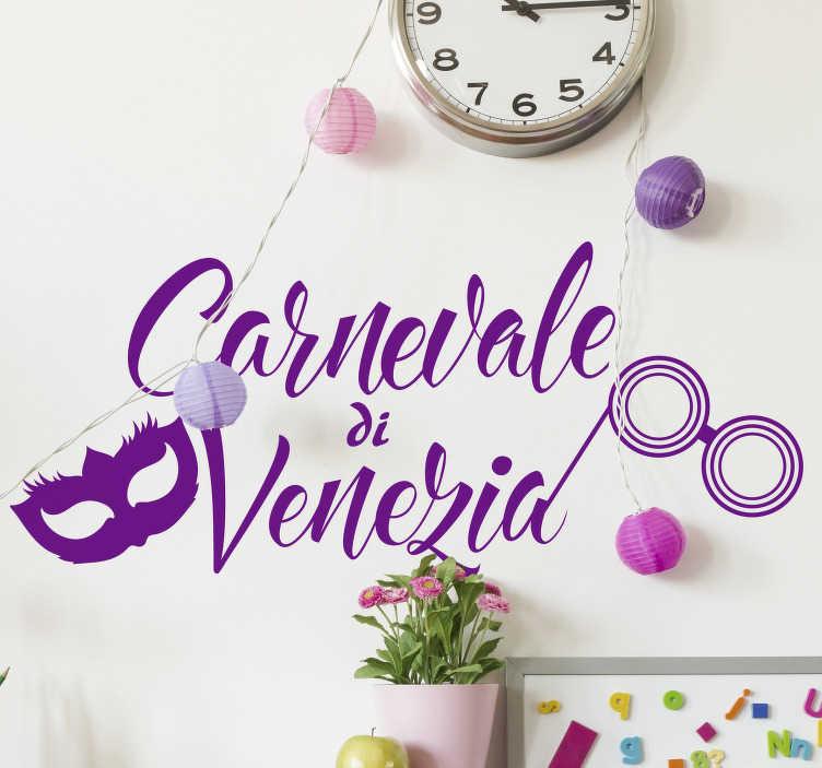 TenStickers. Sticker carnevale di Venezia. Questo fantastico adesivo del carnevale di Venezia è l'ideale per preparare i tuoi locali di casa o la vetrina del tuo negozio a questa magica festa!