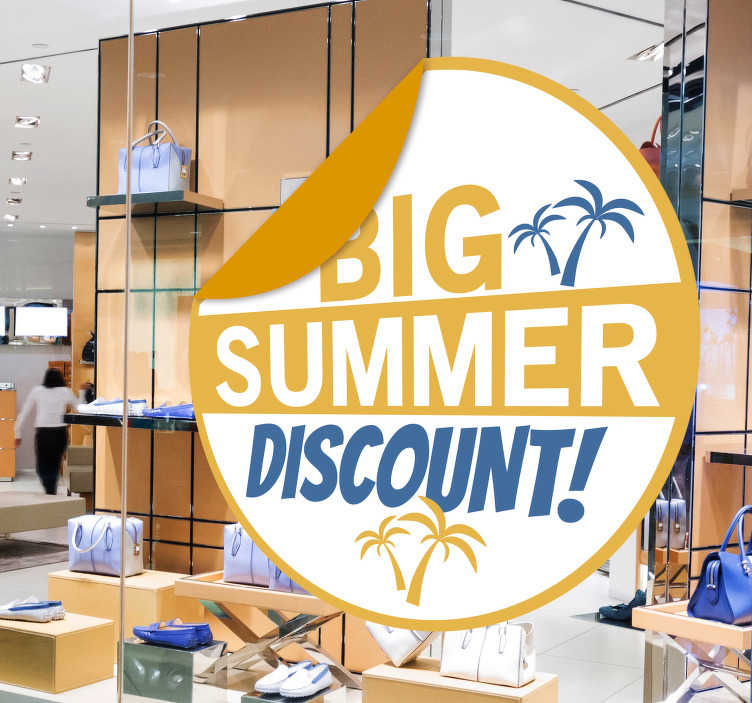 TenStickers. Big summer sale window sticker. Business sales front shop window decal to promote sales. This design is created on a round surface with palm trees and nice colourful text.
