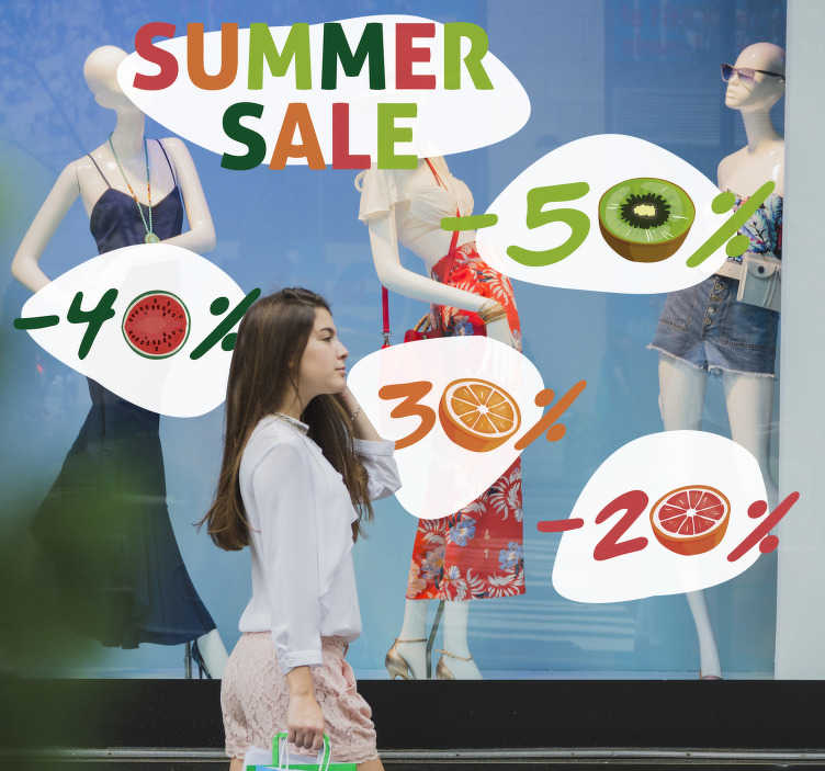 TenStickers. Summer  fruits sale wall sticker. Shop front window decal for summer sales. This design is created with very colourful looking  style with fruits. Easy to apply design.