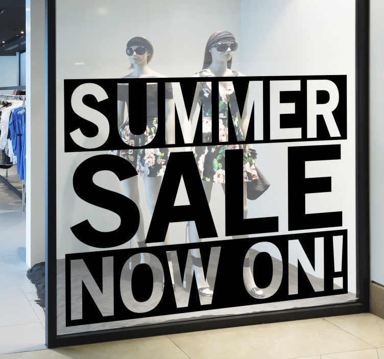 TenStickers. Summer sale now sale wall sticker. Shop window sticker for sales that you will admiire it look and feel on the surface. This design contains the text you need to promote sales.