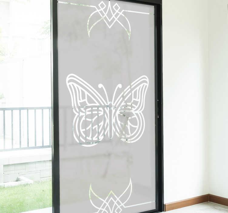 TenStickers. Autocolante para janelas borboletas. Autocolante translúcido para janelas com recortes de borboletas para embelezar a sua janela e livrá-la da superfície chata.