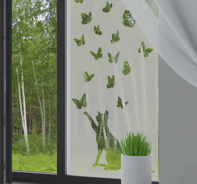 TenStickers. Butterflies window decal. Translucent butterfly window sticker with a cat that you will love to apply on the surface of your window. This design is easy to apply.