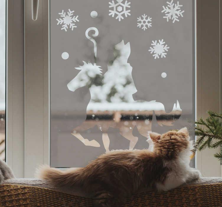 TenStickers. Santa claus silhouet raam zelfklevende sticker. Kerstman festival raam zelfklevende sticker om je raam te versieren. Dit ontwerp is van zeer hoge kwaliteit en gemakkelijk aan te brengen. U kunt de gewenste grootte kiezen.