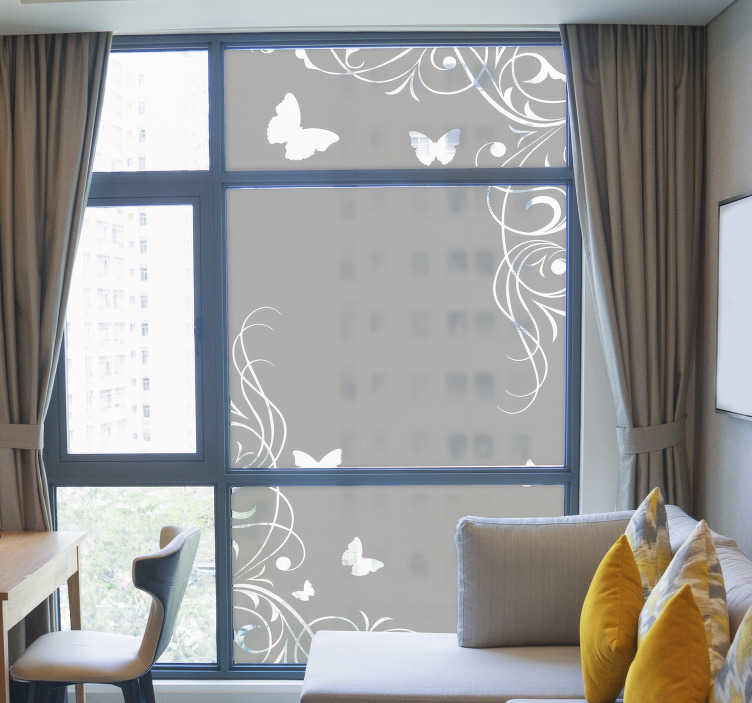 TenStickers. Decoration window butterflies window decal. Butterfly window sticker with flower that will be nice to beautiful your window surface. This design is easy to apply and you can chose the size.