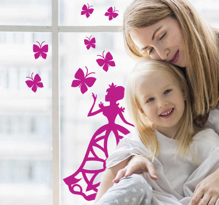 TenStickers. Butterfly decoration set window decal. A decorative fairy with butterflies window decal that you can decorate your window with. This design is easy to apply and you can chose any colour.