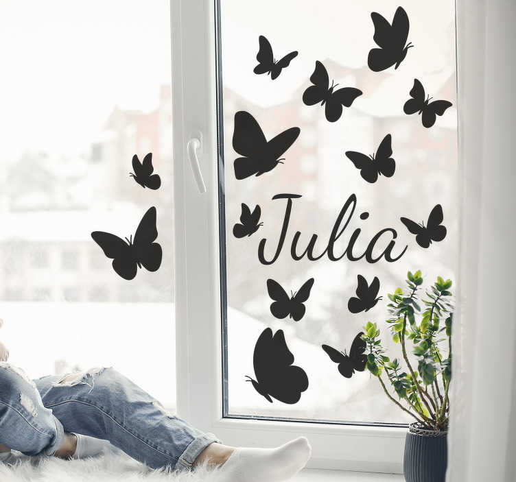 TenStickers. Vlinder in glass window decal. Decorative butterfly window sticker that you can have in any colour,name and size of your choice. This design will transform your window surface.