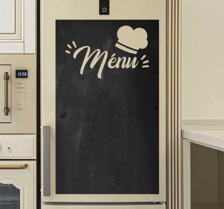 TenStickers. Vinil autocolante decorativo quadro-negro Menu. Use e aproveite nosso vinil autocolante decorativo quadro-negro para organizar os pratos que deseja fazer.