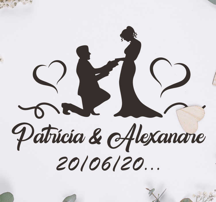 TenStickers. Just Married Personalized wedding vinyl decal. Wedding vinyl car sticker design of a couple with the man on his kneels on from of his woman. it contains text with the name and date customisable.