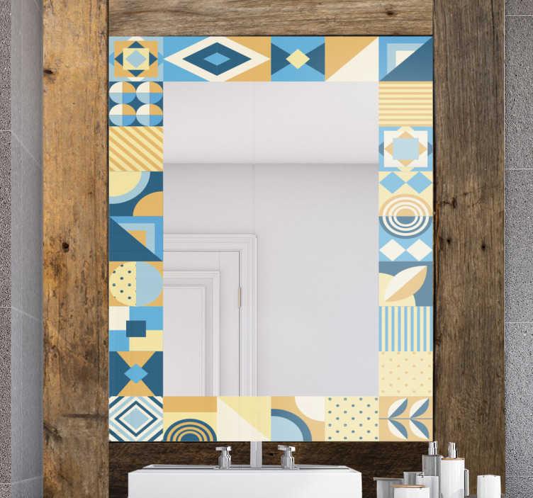 TenStickers. 타일 프레임 컬러 거울 벽 스티커. 타일 스타일로 만든 장식 거울 프레임 데칼을 다양한 모양과 색상으로 쉽게 적용 할 수 있습니다. 원하는 크기를 선택하십시오.