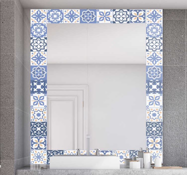 TenStickers. Tiles Frame mirror wall decal. A decorative mirror decal created in an ornamental tile design that you will love to apply on the surface of your mirror .