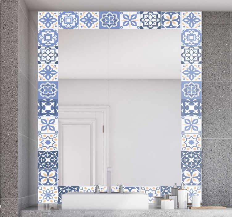 TenStickers. Fliesen rahmen spiegel wandtattoo. Ein dekorativer spiegelaufkleber in einem dekorativen fliesendesign, den sie gerne auf die oberfläche ihres spiegels auftragen.