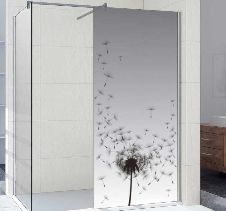 TenStickers. Dandelion shower decal. Easy to apply shower door decal created with a dandelion plant print that you will love. You can have this design in any size that you prefer.