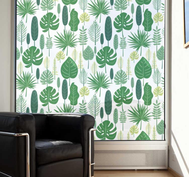 TenStickers. Autocolante para janela de folhas verdes. Um vinil decorativo para janelas cujo design é composto por diversas folhas verdes que dará às suas divisões um toque tropical.
