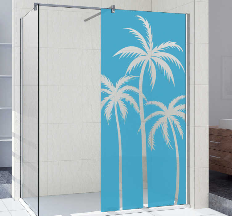 TenStickers. Palm shower decal. Easy to apply decorative shower screen decal design of palm tree that you can have in any other colour to beautify the surface of your shower door.