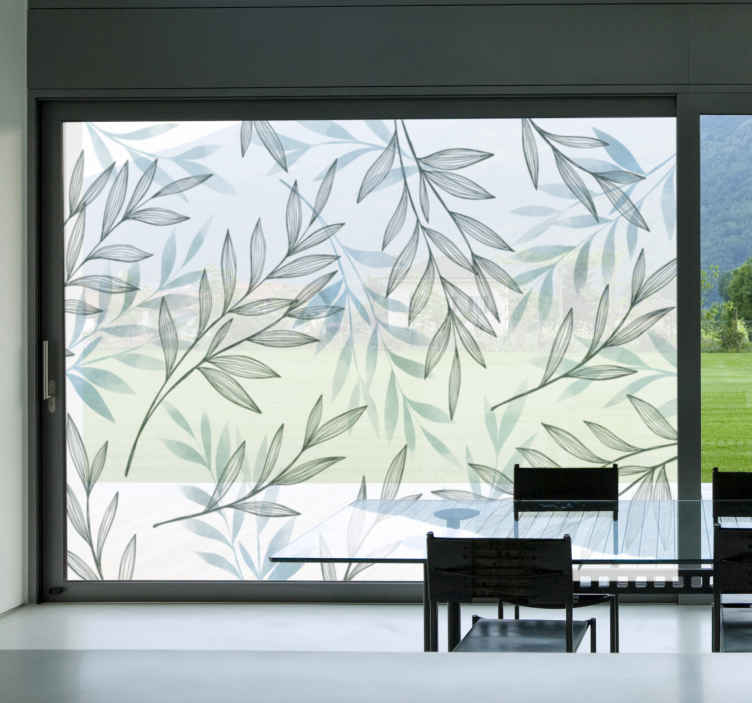 TenStickers. Thin leaves window decal. Easy to apply window decal created with plants flower in a translucent style that you will love. Just chose the size you best prefer.