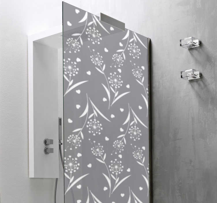 TenStickers. White Dandelions shower decal. Easy to apply shower door decal created with flower plant in sparks that you can have in any other colour and size you prefer.