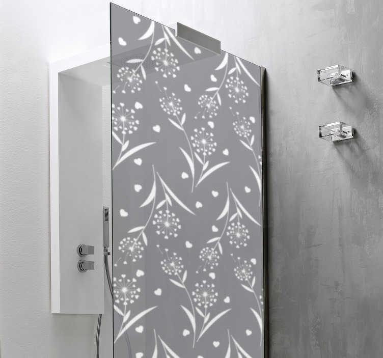 TenStickers. Vinil decorativo para cabine de duche Dente de leão branco . Vinil autocolante decorativo para cabine de duche em estilo floral que dará a decoração perfeita à sua casa de banho.