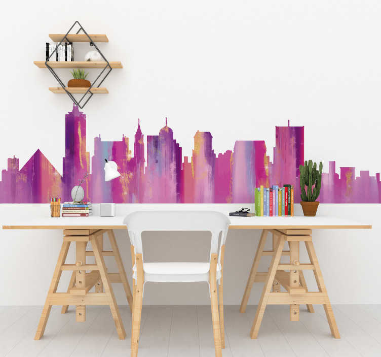 TenStickers. Colorful silhouette Memphi city skyline silhouette sticker. Easy to apply city skyline silhouette wall sticker of Mumphi in colourful style that you will love to decorate your living room or bedroom.