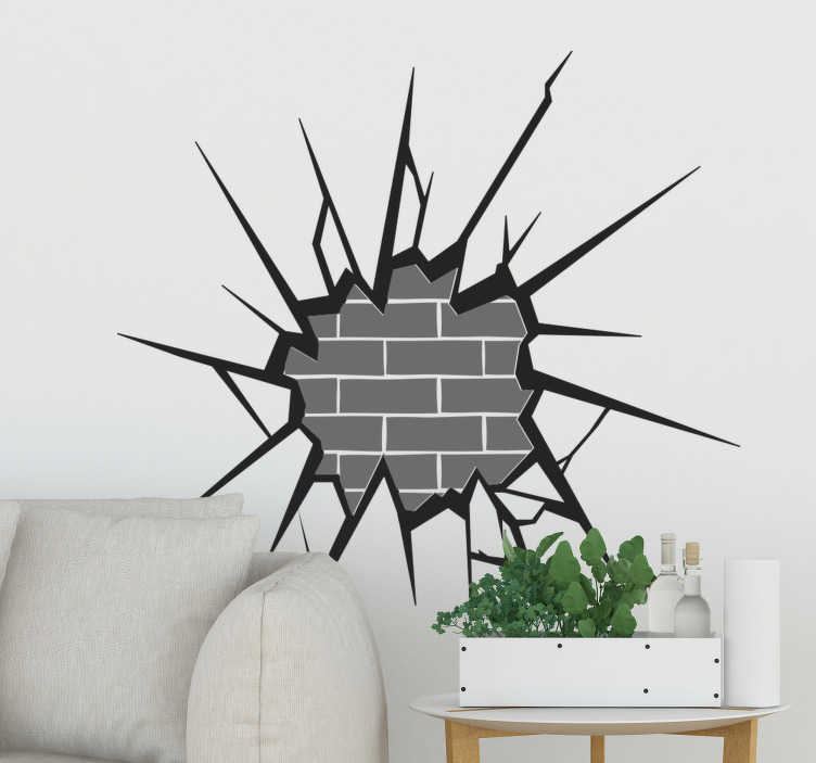 TenStickers. 3D brick exposed visual effects wall decal. Easy to apply decorative home wall art decal of visual effect appearance an exposed bricked in 3D to beautify the living room in movie style.