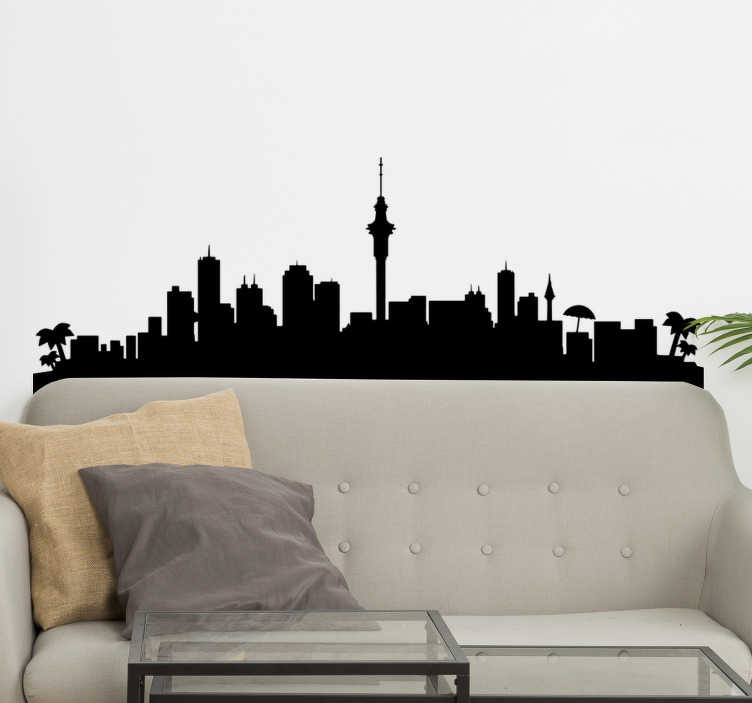 TenStickers. Auckland landscape wall decal. Decorative self adhesive home wall of city silhouette of Auckland that you can have in any colour to beautify the living room and any space .