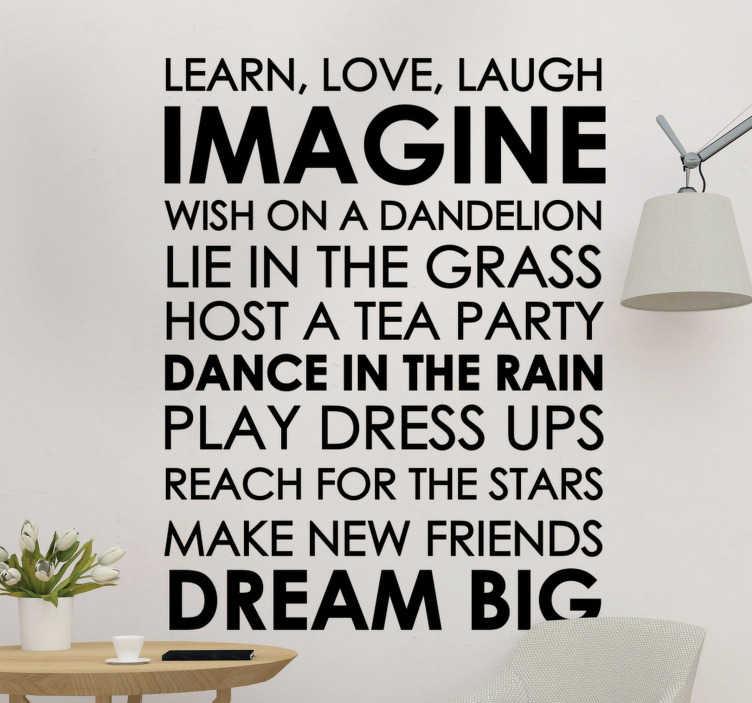 TenStickers. Naklejka motywacyjna Ucz się, kochaj i śmiej. Zamów naszą motywacyjną naklejkę ścienną do domu, aby ozdobić dowolną część swojego mieszkania. Rozpocznij dzień od uśmiechu!