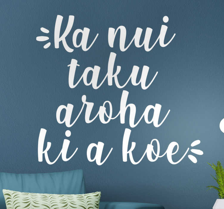 TenStickers. I Love You in Maorí love wall sticker. Easy to apply adhesive vinyl love text wall sticker that you can decorate the home with in any colour and size of your choice. Best for living room.