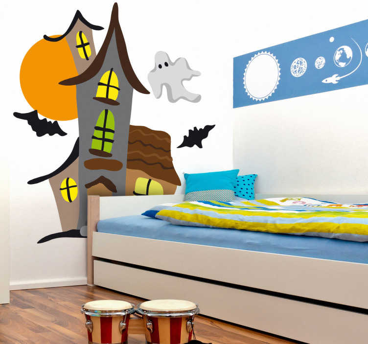 TenStickers. Geisterschloss Wandtattoo fürs Kinderzimmer. Bringen Sie Farbe und Aufregung ins Kinderzimmer mit diesem tollen Geisterschloss Aufkleber - einfach cool. Produktion an einem Tag