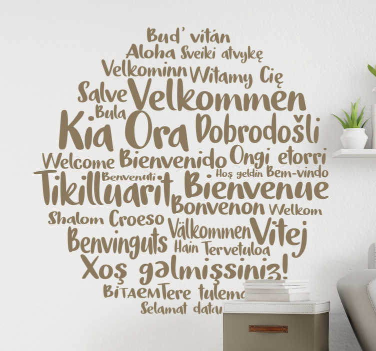 TenStickers. Kia ora welcome home text wall decal. Decorative and  easy to apply wall home decal created with text on a round form and you can chose it in any preferred colour and size.