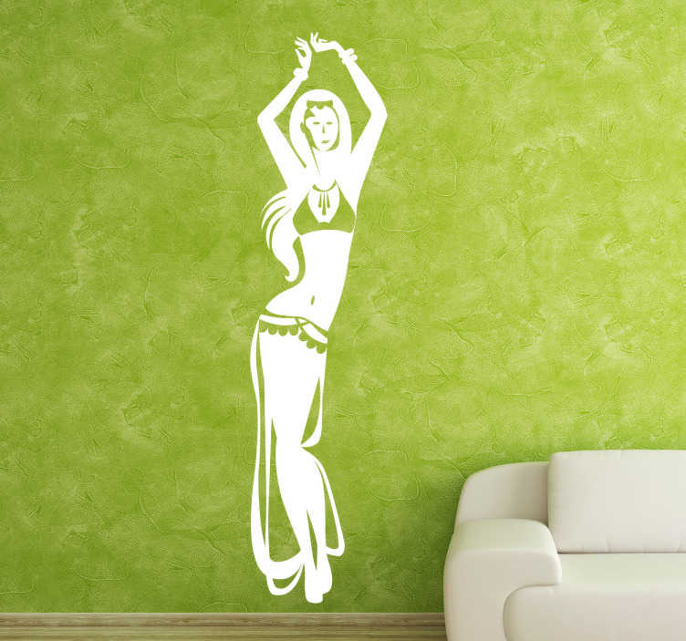 TenStickers. Sticker dans buikdanseres. Een leuke muursticker van een sensuele buikdanseres. Bepaal zelf de gewenste kleur en grootte voor deze wanddecoratie.