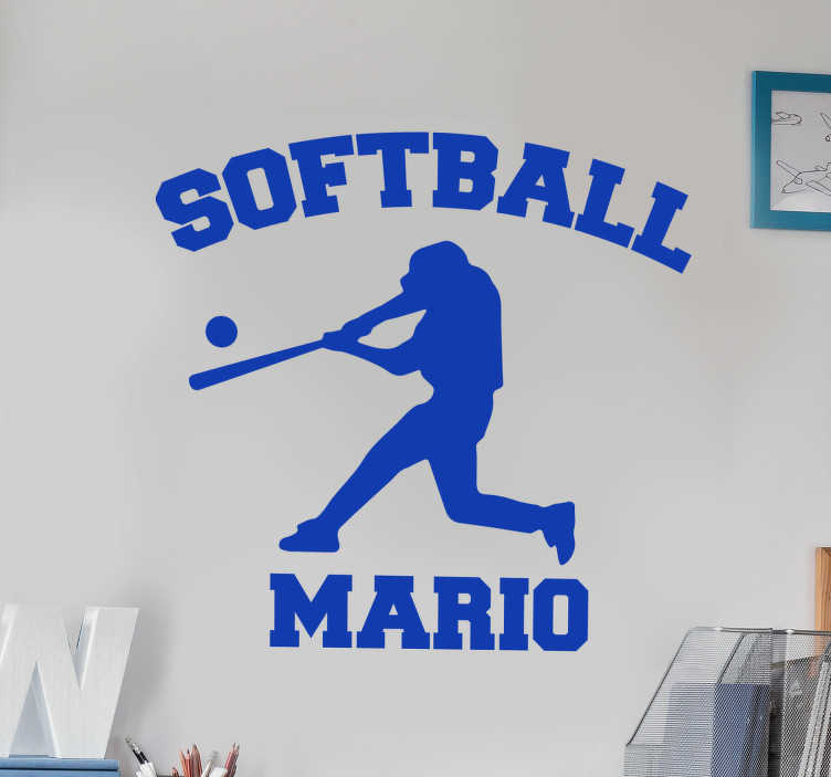 TenStickers. Softball player with name wall decal. Easy to apply wall art decal of a soft ball player in silhouette style with any name that you want on it. You can have it in any colour you prefer.
