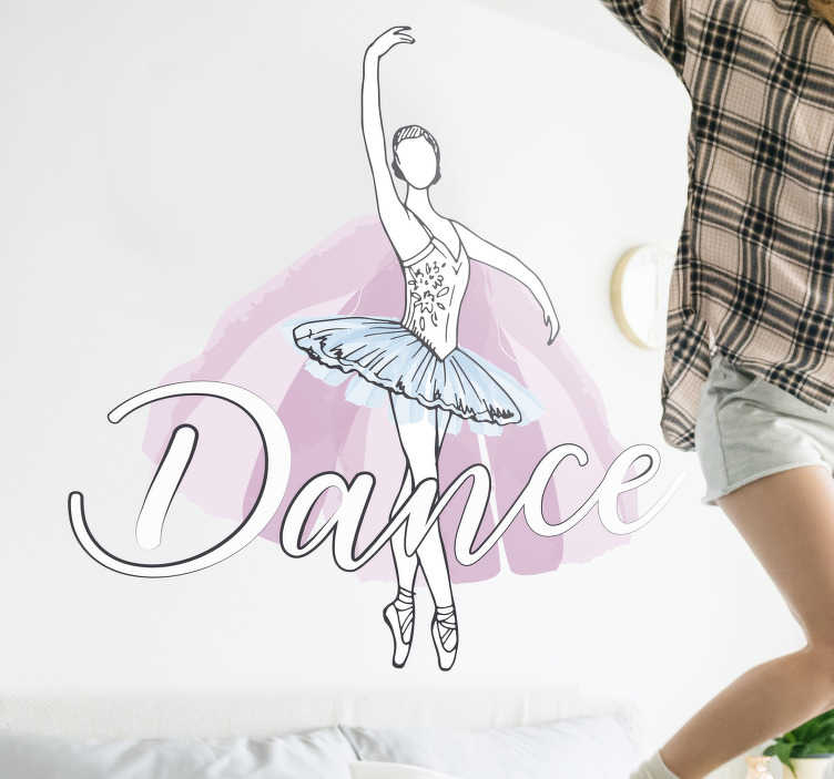TenStickers. Ballet dancer with sentence dance dance wall decal. Easy to apply wall art decal of a dancing ballet dancer in her costume and an amplified text that says ''dance' You can chose the size you want.