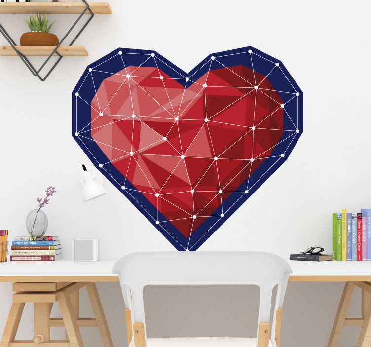 TenStickers. Geometric heart origami style love wall decal. Decorative and easy to apply wall decal of a heart with connecting lines that form geometric irregular surface on in. You can have it in any size.