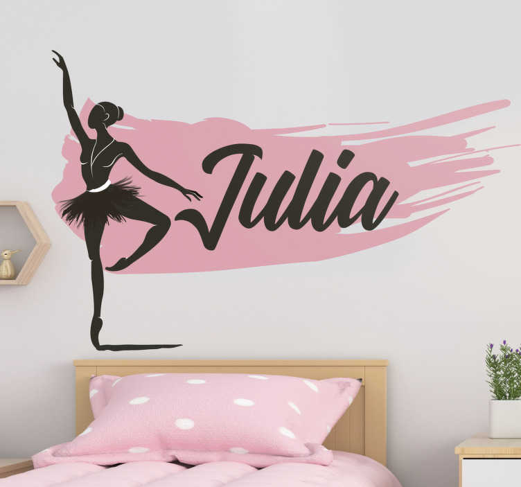 TenStickers. Girl dancing ballet with name  dance wall decal. Customise a name on our wall art home decal of a dancing ballet girl and take charge of the wall surface in the home with your preferred name. on it.