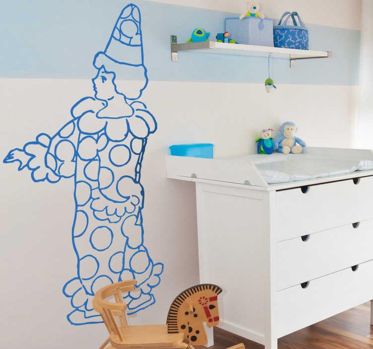 TenStickers. Kinderzimmer Wandtattoo Clown. Dekorieren Sie das Kinderzimmer mit diesem schönen Wandtattoo eines gezeichneten Clowns.