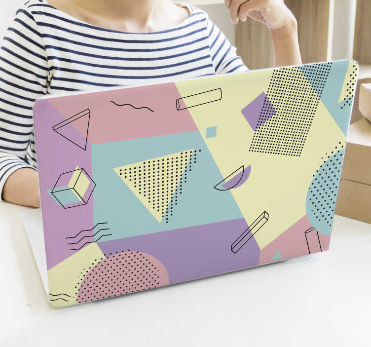 TenStickers. Memphis style pastel laptop skin. Easy to apply decorative laptop vinyl skin design of pastels in colours you will admire. You can use is for tablets also. You can have it in any size.
