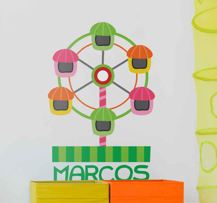 TenStickers. Fair Ferris Wheel Wall Sticker. Kids Wall Stickers - Colourful illustration of a Ferris wheel. Ideal feature for decorating areas for children.