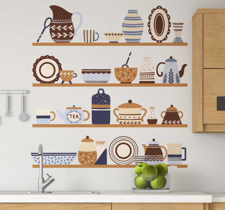 TenStickers. Shelvings with crockery cutlery sticker. Decorate your kitchen wall with this wall decal of kitchen shelf that features a lot of decorative utensils . Easy to apply.