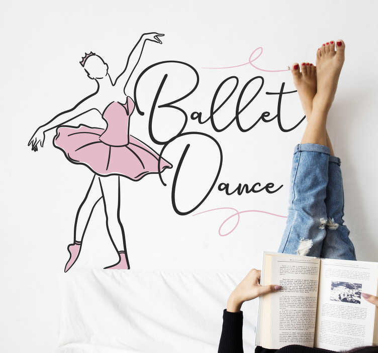 TenStickers. Silhouette of a ballet dancer  dance wall decal. Decorate your wall with this dancing girl silhouette in pink dress. On the design is seen the girl swinging in the dance style of ballet.
