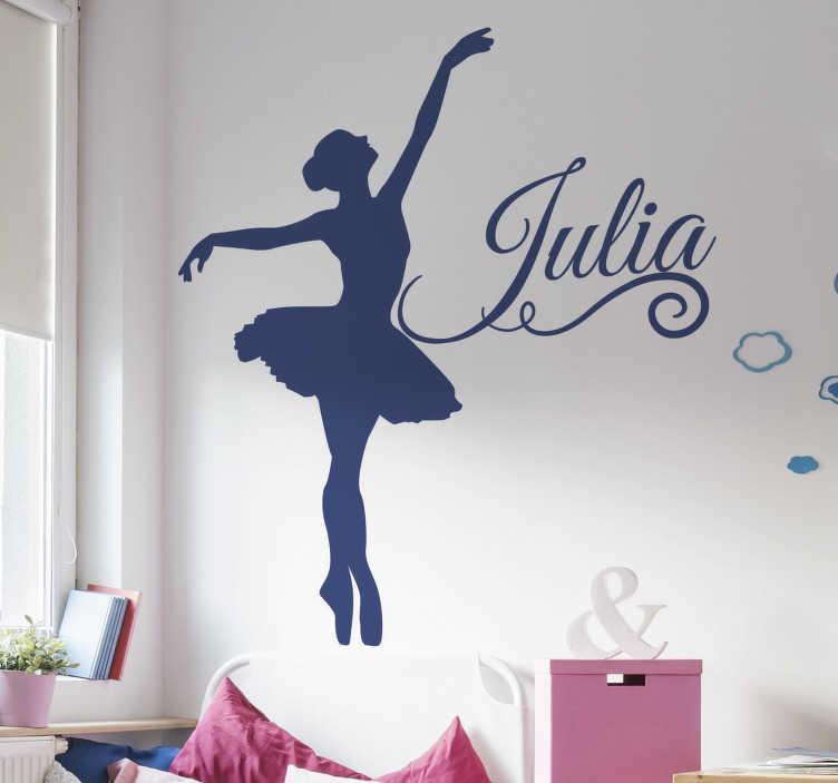 TenStickers. Silhoutte balletttänzerin mit namen wandaufkleber. Unser einfach aufzutragender selbstklebender wandkunst-aufkleber für kinderzimmer wurde mit einem tanzenden ballettmädchen in einer silhouette erstellt, die sie in jeder anderen farbe haben können