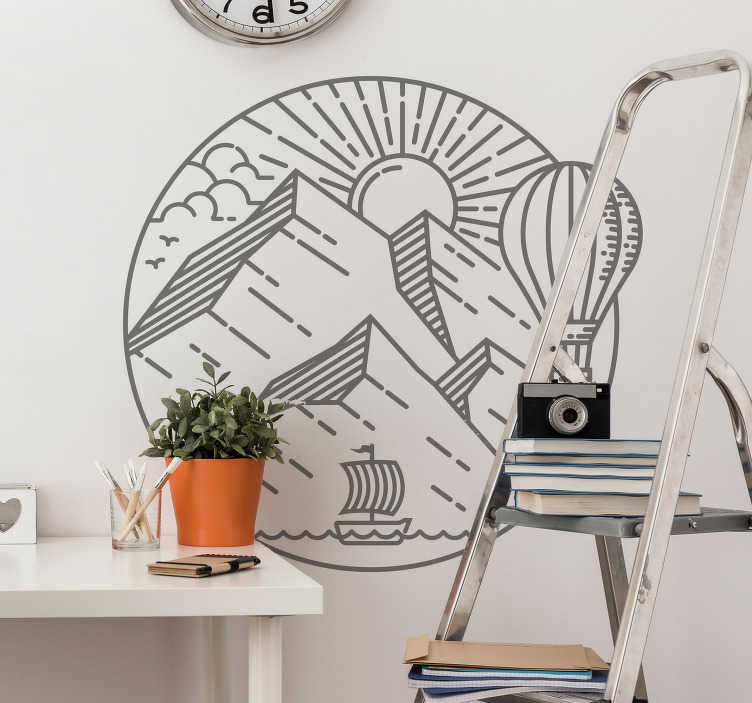 TenStickers. Sun and mountains nordic style nature wall sticker. Apply our self adhesive wall decal of a calm natural design of the sun and all the featured you need to enjoy a great sunny day on a round surface.