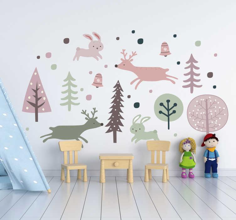 TenVinilo. Vinilo infantil animales y arboles estilo nordico. Adhesivo de pared para habitación infantil creado en estilo nórdico con animales y árboles. Este diseño está creado en colores que motiva a los niños