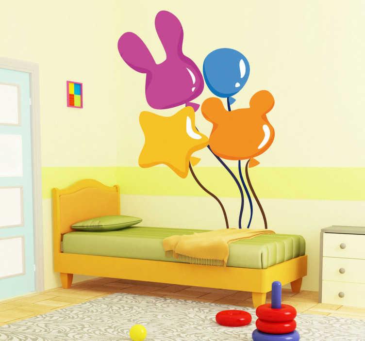 TenStickers. Kirmes Luftballons Aufkleber. Wandtattoo Luftballon. Jeder Luftballon besitzt eine andere Farbe und Form. Mit dem Sticker verleihen Sie der Wand im Kinderzimmer einen neuen Look.