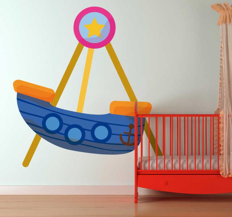 TenStickers. Wandtattoo Schiffschaukel. Personalisieren Sie das Kinderzimmer mit diesem bunten Wandtattoo einer Schiffschaukel auf einem Rummel.
