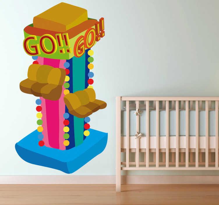 TenStickers. Wandtattoo Achterbahn. Gestalten Sie das Kinderzimmer mit diesem tollen Wandtattoo eines Karussels auf einem Jahrmarkt!