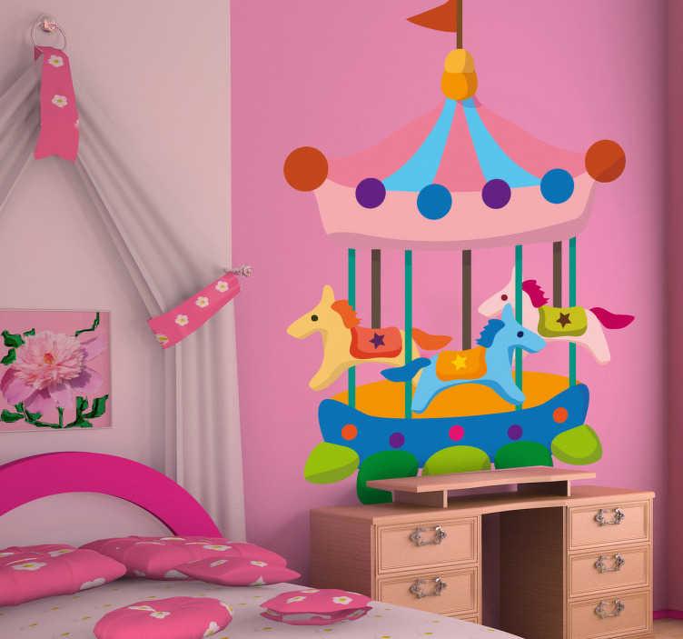 TenStickers. Adesivo bambini disegno giostre 5. Sticker decorativo che raffigura un grazioso carosello con cavallini al galoppo. Un'ondata di colore per la cameretta dei tuoi bambini.