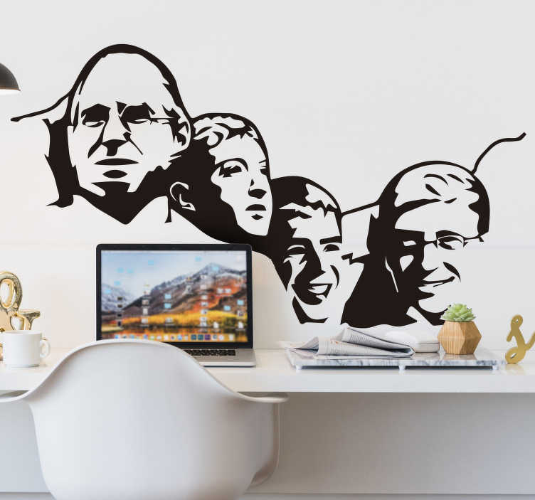 TenStickers. Mount Rushmore geek  character wall decal. Buy our easy to apply Mount Rushmore geek character home wall decal to decorate the home with historical touch in any colour and size that you prefer.