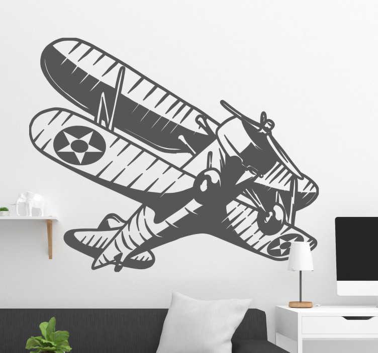 TenStickers. Nalepka vintage letala. Okrasna stenska vinilna nalepka letala, ki jo lahko imate v poljubni barvi in velikosti, da polepšate dom na katerem koli prostoru.